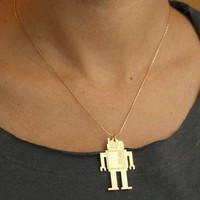 SALE wild thing MR ROBOTO golden pendant by kerenasaf on Etsy