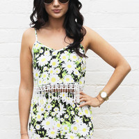 Daisy Print Tassel Crop Top & High Waisted Shorts Co-ord Set in White, Yellow & Black