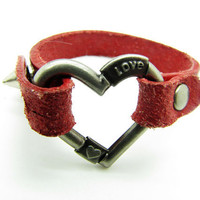 wine leather heart-shape bracelet with screw buckle women or men jewelry bangle women leather bracelet 833A