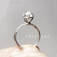 "RING ""Princess"" with Diamond in Sterling Silver finish. Handmade. Minimalistic, Modern. Promise or Engagement Ring."