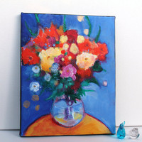 "Original Abstract Painting Floral Still Life on Canvas ""Orange Flowers in a Blue Room"""