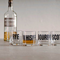 Whiskey bourbon scotch and rye hand printed rocks by vital