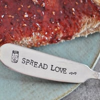 SPREAD LOVE - Hand Stamped Vintage Butter Knife - Jar of Hearts Collection (TM)