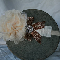 Ivory and Brown Rosette Headband