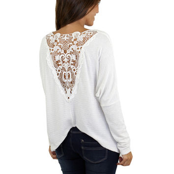 Ivory Top With Lace Back