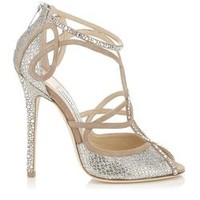Nude and Champagne Suede and Glitter Fabric Sandals with Hotfix Crystals | Kasava | Autumn Winter 14 | JIMMY CHOO Women Sale