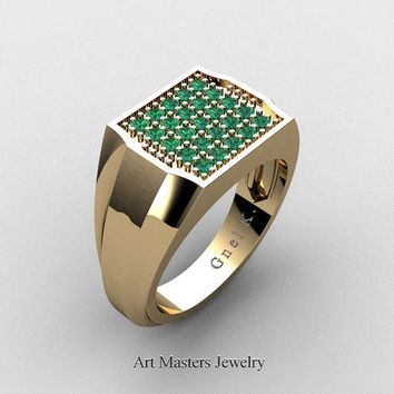 Mens Modern 14K Yellow Gold Micro Pave Emerald Designer Ring R326M-14KYGEM