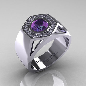 Gentlemens Modern 950 Platinum 1.0 Carat Alexandrite Diamond Celebrity Engagement Ring MR161-PLATDAL
