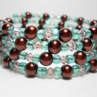 Wrap Bracelet Brown and Teal Pearl Memory Wire Bracelet