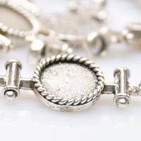 1 Piece Silver Plated Cabochon Pendant, Matte Silver Connector Pendant, Jewelry Findings, Jewelry Making Supply