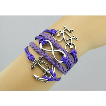 Bracelet,Anchor bracelet,infinity bracelet,bike Bracelet,Bicycle bracelet,Couples bracelet,lover bracelet,leather bracelet,hipsters jewelry,braided bracelet,purple bracelet
