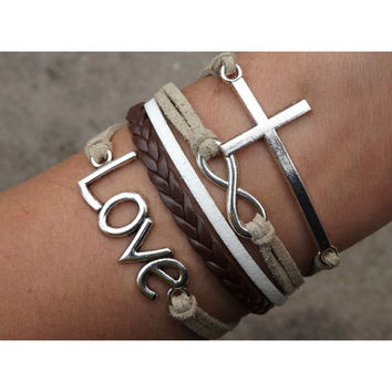 Cross bracelet,infinity bracelet,Love Bracelet,Couples bracelet,Brown bracelet,lover bracelet,leather bracelet,hipsters jewelry,braided bracelet,white bracelet