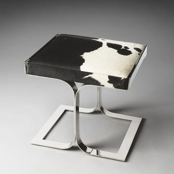 Butler Specialty Faux Cowhide Nickel Vanity Stool