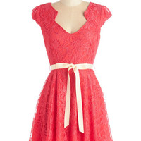 ModCloth Short Length Cap Sleeves A-line Sweet Staple Dress in Scarlet