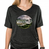Wanderlust-Unisex Heather Onyx T-Shirt
