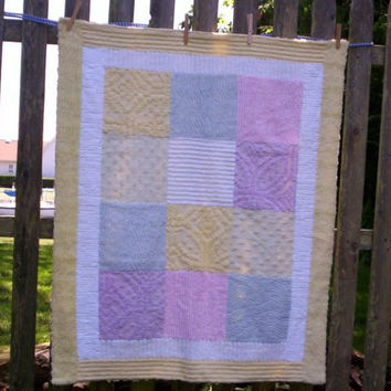 Chenille Patchwork Quilt in soft pastel baby lap quilt hostess gift cottage shabby chic