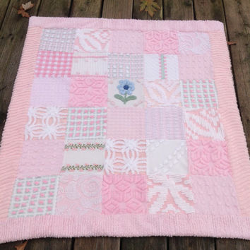 Pink chenille quilt from vintage bedspreads pinstripe flannel