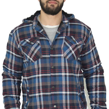 Burnside Men's Flannel Sherpa Button Up Hoodie Sweatshirt