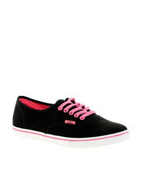 Vans Lo Pro Black/ Pink Lace Up Trainers at asos.com