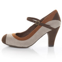 Bamboo Matty 70 Brown Multi Retro Mary Jane Pumps