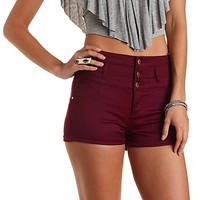 "Refuge ""Hi-Waist Shortie"" Colored Denim Shorts - Oxblood"