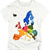 WOMENS European Countries Colorful Geography Map Unique by isotope