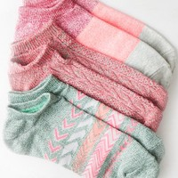 AEO Women's Bright Printed Shortie Sock 3-pack (Olive)