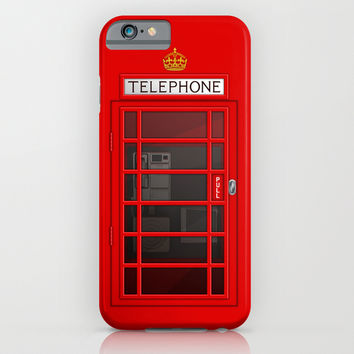 LONDON CALLING... RED TELEPHONE BOX BOOTH PHONE BOX iPhone & iPod Case by CreativeAngel