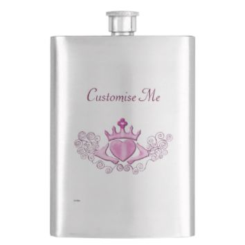 The Claddagh (Pink) Hip Flask