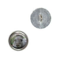 Bunny Rabbit Gray - Easter Buttons - Set of 4