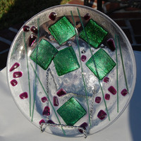Christmas Fused Art Glass Plate Cranberry and Green Shimmer