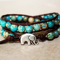 Elephant Bracelet, Leather Beaded Wrap Bracelet 2x, Elephant Jewelry, Boho Chic, Aqua Jasper Beads, Lucky Jewelry