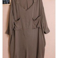 Women Autumn New Style Korean Style Slim Long Casual Blouse with Sash Cotton Army Green One Size@WH0054agr $13.16 only in eFexcity.com.