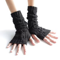 Very soft and cozy long pure merino wool cable knit black fingerless gloves/wrist warmers - READY to ship