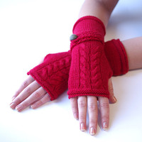 Cozy rich red wool/polyamide blend fingerless gloves/wrist warmers with a strap - READY to ship