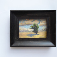 Original 5x7 painting. The Road to California. Calm expressive tree. Framed by request.  Painting of yellow, purple, green,  blue.