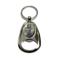 Bunny Rabbit Gray - Easter Spinning Oval Bottle Opener Keychain