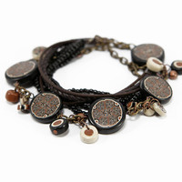 Black Brown Beaded Bracelet - Ethnic Boho Chic Unique Leather Seed Beads Handmade  Bracelet - Bracelets for Women
