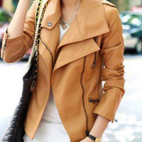 Brown Long Sleeve Zipper PU Leather Coat - Sheinside.com