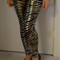 Gold Zebra Leggings