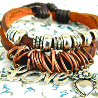 Vintage alloy small accessories Bracelet love love small jewelry Leather Handmade Beaded Jewelry Adjustable Bracelet   wooden bead