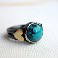 Heavy Sterling Silver Ring with Turquoise and Brass Hearts - Handmade by Rachel Pfeffer