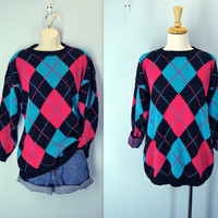 Vintage 1980s Sweater / Argyle Slouchy Sweater / m-l