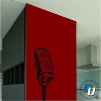 Microphone  - Removable Vinyl Wall Decal Art Decor Sticker Mural Modern Music