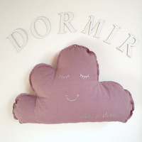 Cloud Shaped Cushion or Pillow French - Shh...Je Dors... (Shh... I am Sleeping) - Light Purple Cotton