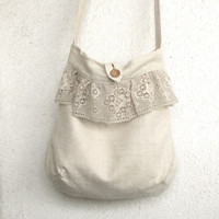 The French Romance Bag - natural linen and lace ruffle Tote, Messenger bag, Book bag, Market bag