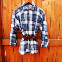 vintage distressed flannel plaid western shirt. size M.