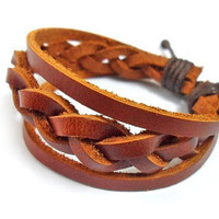 jewelry Bangle leather bracelet woven bracelet women bracelet men bracelet made of leather woven wrist bracelet  SH-0247