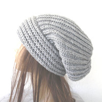Hand Knit  Womens hat  chunky knit Slouchy Beanie  Slouchy  Hat  Fall Autumn Winter Accessories knitted  fashion Silver Gray