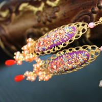 Stunning Purple  with shades of gold and rust clay florals,vintage filigree, freshwater pearls and Coral  gold earrings - Autumn Sunset